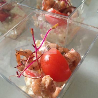 Verrine de crabe et crevettes grises